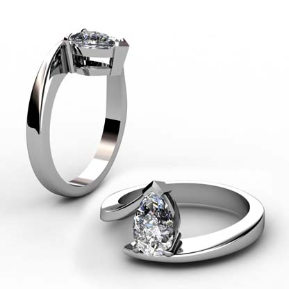 Pear Cut Diamond Engagement Ring with Twisted Band 1 2