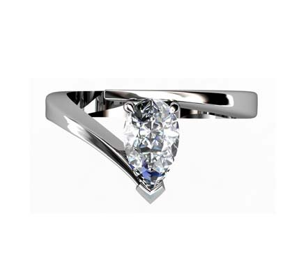 Pear Cut Diamond Engagement Ring with Twisted Band 2 2