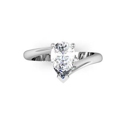 Pear Cut Solitaire Engagement Ring with Twisted Band 2 2