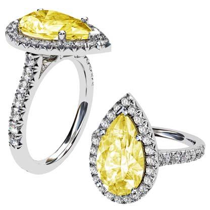 Pear Cut Yellow Diamond Halo Ring 1 2