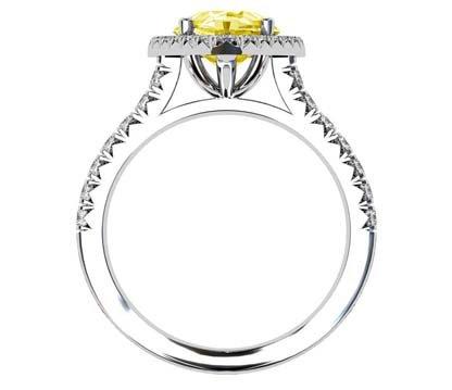 Pear Cut Yellow Diamond Halo Ring 3 2