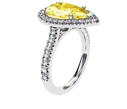 Pear Cut Yellow Diamond Halo Ring 4 2