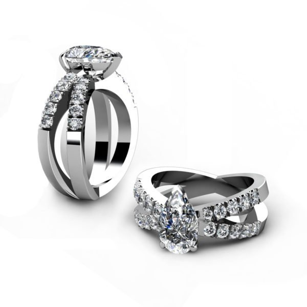 Pear Shape Diamond Engagement Ring with Crossover Band 1 2