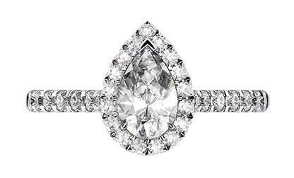 Pear Shape Halo Diamond Ring With Unique Basket 2 2