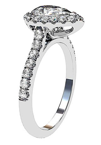 Pear Shape Halo Diamond Ring With Unique Basket 4 2