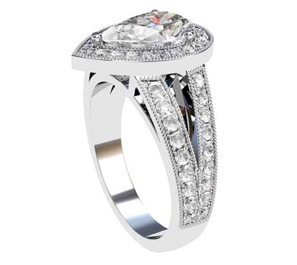 Pear Shaped Diamond Halo Engagement Ring with Split Shank and Milgrain Beading 4 2