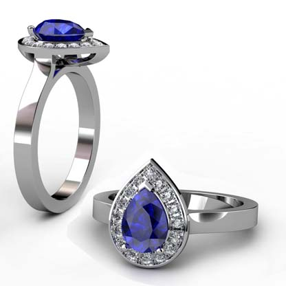 Pear Shaped Sapphire Halo Engagement Ring with Flat Band 1 2