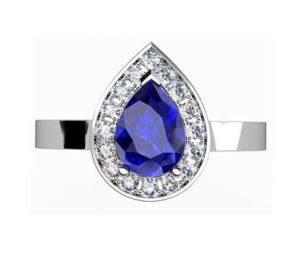 Pear Shaped Sapphire Halo Engagement Ring with Flat Band 2 2