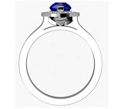 Pear Shaped Sapphire Halo Engagement Ring with Flat Band 3 2