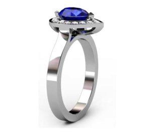 Pear Shaped Sapphire Halo Engagement Ring with Flat Band 4 2