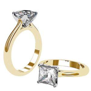 Petal Style Princess Cut Solitaire Diamond Ring 1 2
