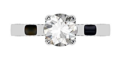 Petal Style Round Brilliant Cut Diamond with Pave Edged Band 2 2