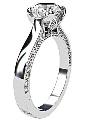 Petal Style Round Brilliant Cut Diamond with Pave Edged Band 4 2
