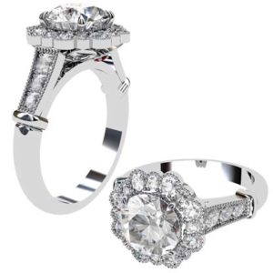 Petal Vintage Style Round Diamond Engagement Ring 1 2
