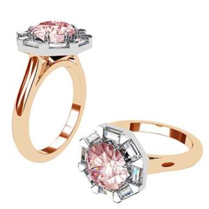 Pink Sapphire Ring with Diamond Baguette Halo 1 2