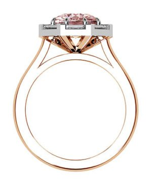 Pink Sapphire Ring with Diamond Baguette Halo 3 2