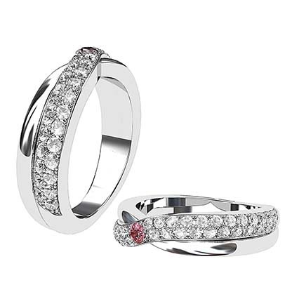 Pink and White Crossover Diamond Wedding Band 1