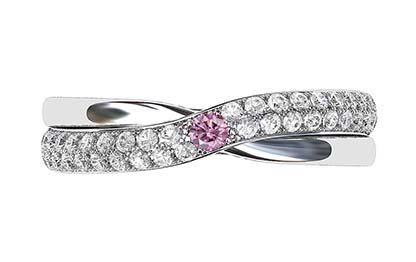 Pink and White Crossover Diamond Wedding Band 3