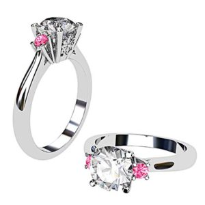 Platinum Round White and Pink Diamond Ring 1 2