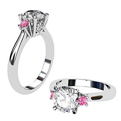 Platinum Round White and Pink Diamond Ring 1 2