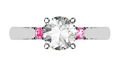 Platinum Round White and Pink Diamond Ring 2 2