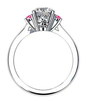 Platinum Round White and Pink Diamond Ring 3 2