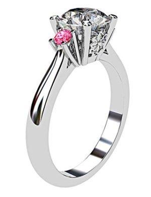 Platinum Round White and Pink Diamond Ring 4 2