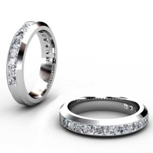 Princess Cut Channel Set Wedding Band with Beveled Edge 1