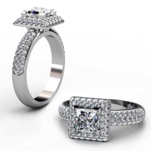 Princess Cut Diamond Double Halo Engagement Ring 1 1 2
