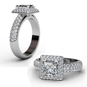 Princess Cut Diamond Double Halo Engagement Ring 1 3