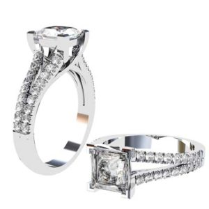 Princess Cut Diamond Engagement Ring on a Diamond Split Band 1 1