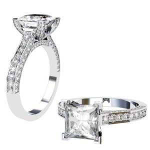 Princess Cut Diamond Engagement Ring with Diamond Basket and Band 1 2