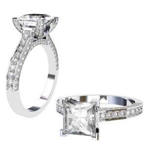 Princess Cut Diamond Engagement Ring with Diamond Basket and Band 1 2