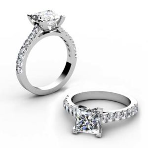 Princess Cut Diamond Engagement Ring with Side Stones 1 3 2