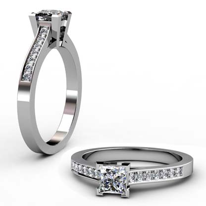 Princess Cut Diamond Engagement Ring with Side Stones 1 5