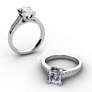 Princess Cut Diamond Engagement Ring with Side Stones 1 6 2