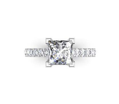 Princess Cut Diamond Engagement Ring with Side Stones 2 2 2