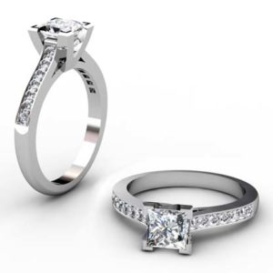 Princess Cut Diamond Engagement Ring with V Shape Basket 1 1 2