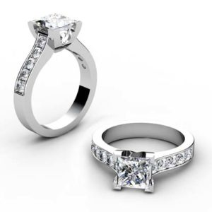 Princess Cut Diamond Engagement Ring with V Shape Basket 1 2 2
