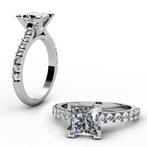 Princess Cut Diamond Engagement Ring with V Shape Basket 1 4