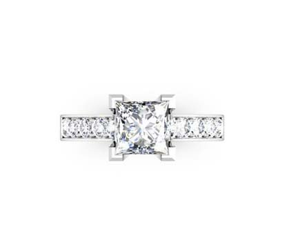 Princess Cut Diamond Engagement Ring with V Shape Basket 2 2 2
