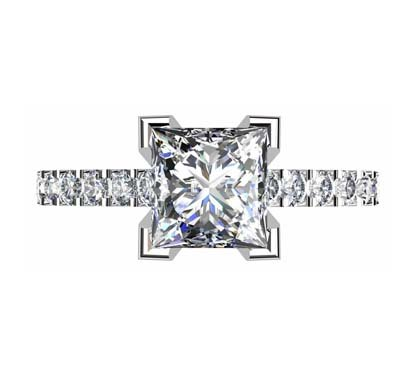 Princess Cut Diamond Engagement Ring with V Shape Basket 2 4