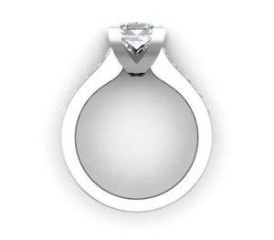 Princess Cut Diamond Engagement Ring with V Shape Basket 3 2 2