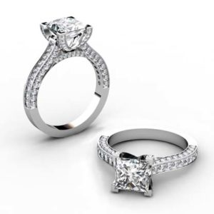 Princess Cut Diamond Engagement Ring with V form Basket 1 1 2