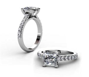 Princess Cut Diamond Engagement Ring with V form Basket 1 2 2