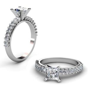 Princess Cut Diamond Engagement Ring with V form Basket 1 3