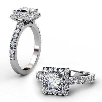 Princess Cut Diamond Halo Engagement Ring 1 1 2