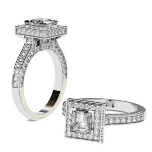 Princess Cut Diamond Halo Engagement Ring 1 2 2