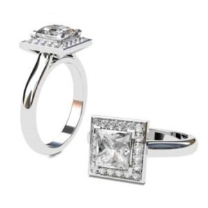 Princess Cut Diamond Halo Engagement Ring 1 4 2