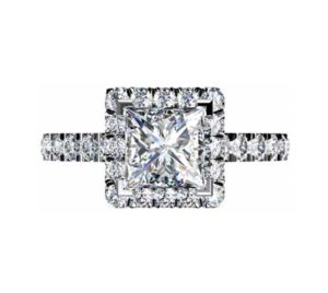 Princess Cut Diamond Halo Engagement Ring 2 1 2